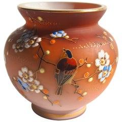Bohemian Loetz Victorian Enameled Bird Glass Vase