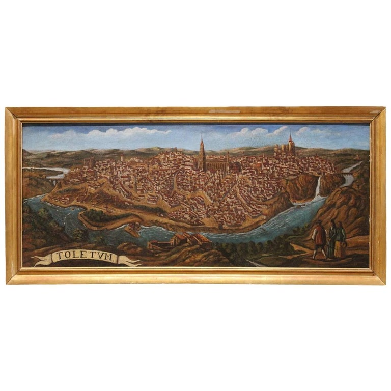 Late 19th-Early 20th Century Spanish Painting of Toledo For Sale