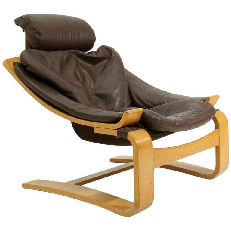 Kroken Leather Armchair by Ake Fribyter for Nelo, 1970s