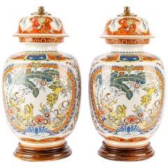 Pair of Oriental Porcelain Ginger Jars Mounted as Lamps