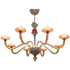 Classico, Murano Chandelier, Red and Amber, Eight Arms, 1990s