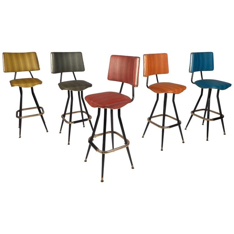 Set of Five Mid-Century Modern Swivel Bar Stools