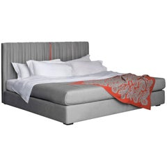 Contemporary Textile Bed, Pure Cashmere, Handmade in Italy, Customizable