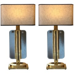 Late 20th Century Pair of Smoked Grey/Green Murano Glass Table Lamps by Salviati