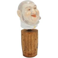 Antique Meissen Porcelain Figural Wine Bottle Stopper or Cork Decoration