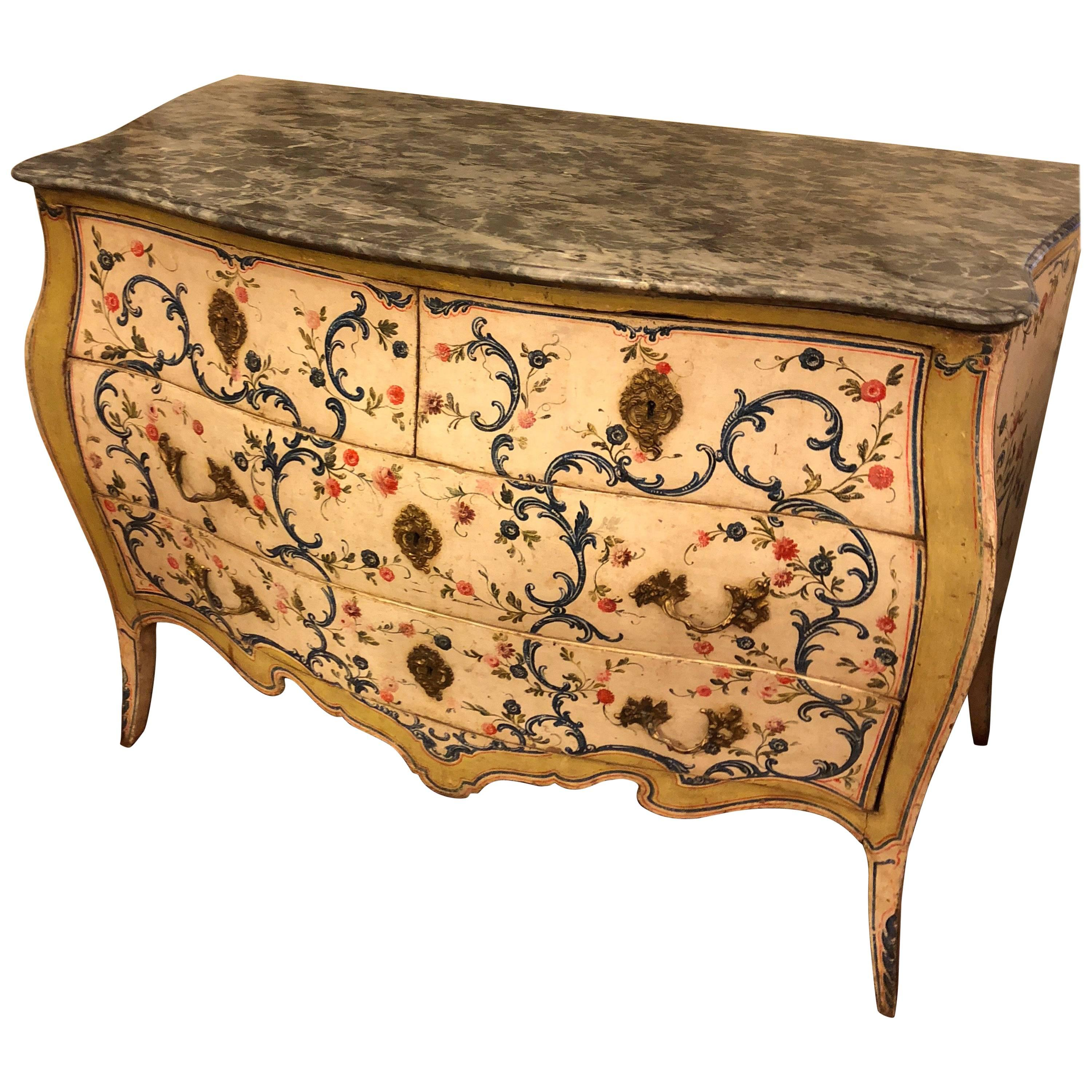 Italian Louis XV Painted Marble Top Commode
