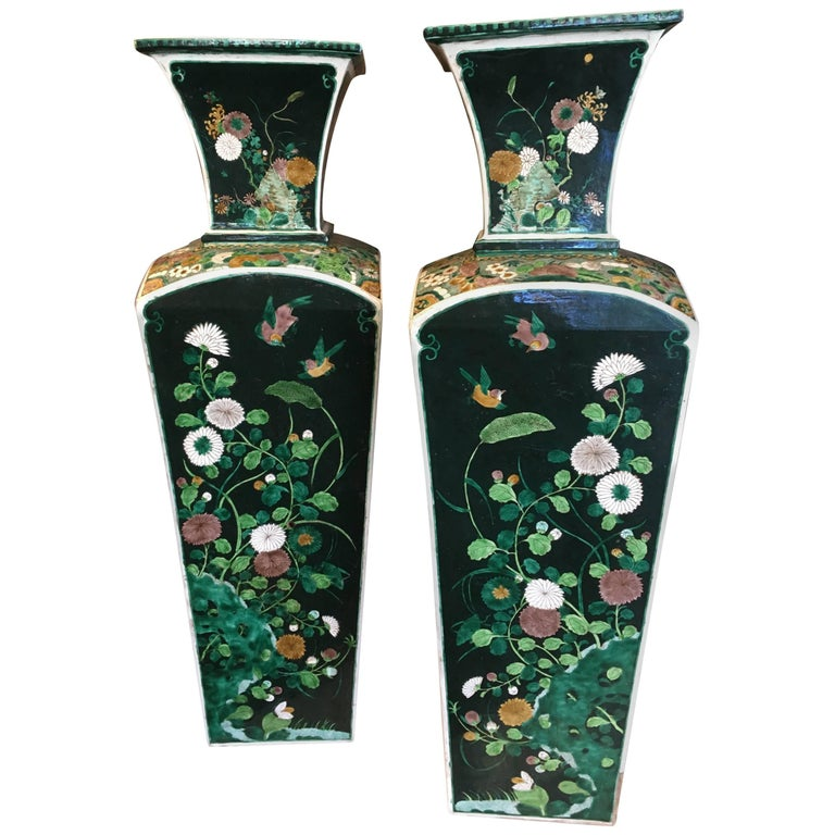 Pair of Exquisite 19th Century Qing 'Manchu' Dynasty Famille-Noir Square Vases