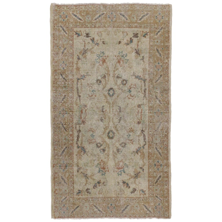 Distressed Vintage Turkish Sivas Rug with Rustic Farmhouse Style For Sale