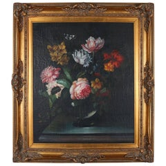 Oil on Board Still Life Painting of Floral Bouquet in Vase, Gilt Frame