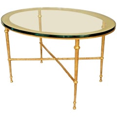 Postwar Design 'Giacometti Style' Gilt Bronze Patina Oval Coffee Table