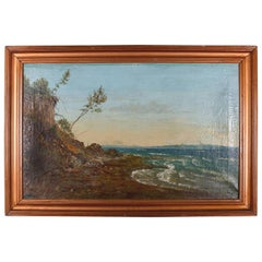 Antique German Folk Art Oil on Canvas Painting of Seascape, 19th Century