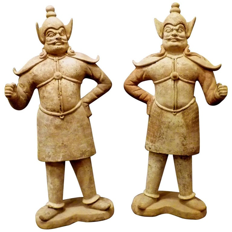 Pair of Very Refined Tang Dynasty Pottery Statue of Guardians, TL Tested For Sale