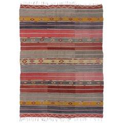 Boho Chic Vintage Turkish Kilim Rug, Flat-Weave Rug with Tribal Style