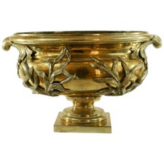 Impressive 19th Century Polished Bronze Jardinière with Applied Decoration