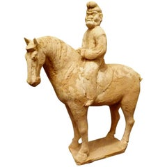Fine and Unusual Standing Horse with a Persian Rider