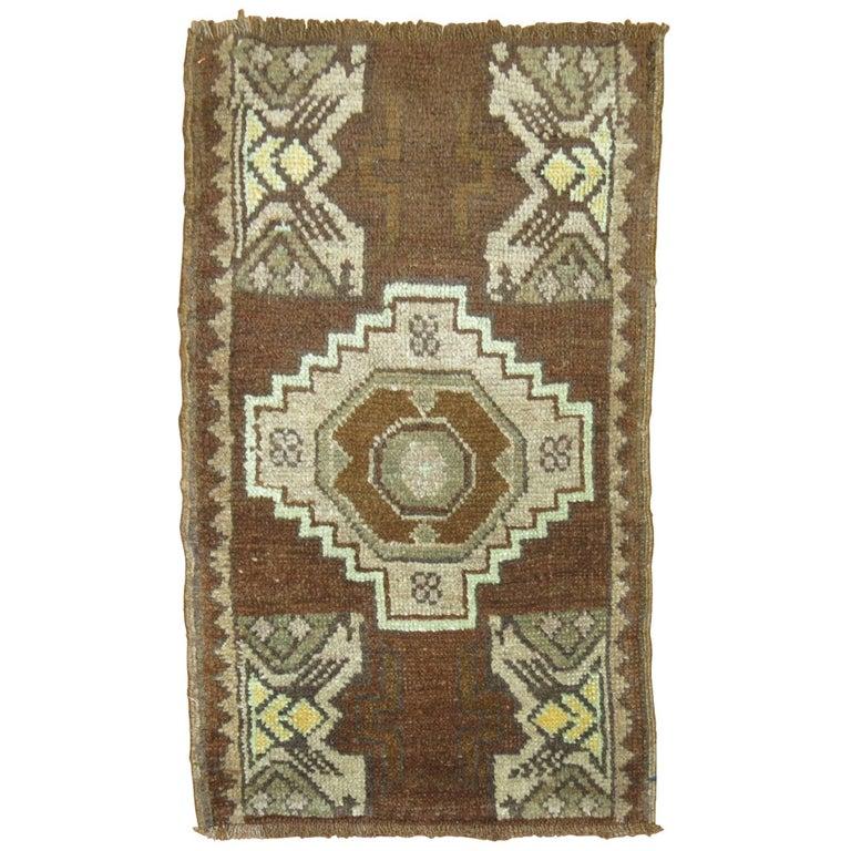 Vintage Turkish Brown Rug For Sale