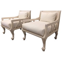 """Pair of John Hutton Egyptian Revival """"Thebes"""" Chairs"""