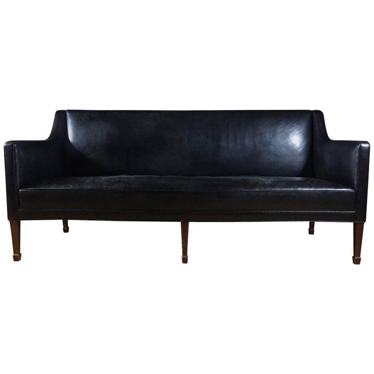 Lysberg, Hansen & Therp Black Leather Sofa, 1940s
