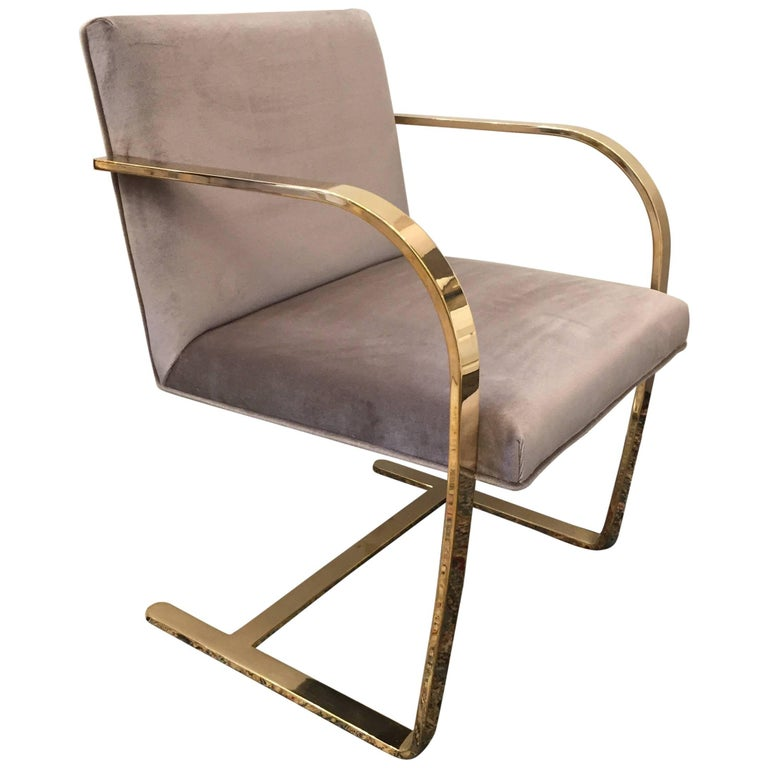 Solid Brass Flat Bar Mies van der Rohe for Knoll Chair