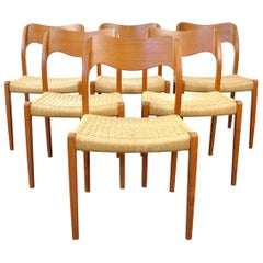 Arne Hovmand-Olsen Model #71 Teak Dining Chairs for J.L. Moller