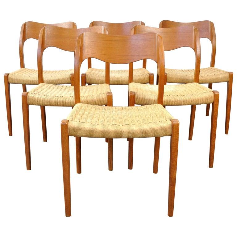 Arne Hovmand-Olsen Model #71 Teak Dining Chairs for J.L. Moller