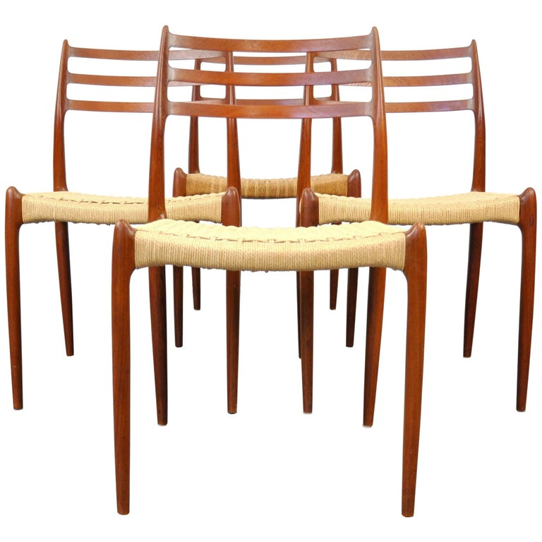 Niels O. Moller Model #78 Teak Dining Chairs For Sale