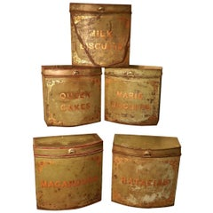 Five Large Victorian Baker's Shop Tins, Toleware Biscuit Canisters
