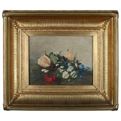 Antique Oil on Board Floral Still Life Signed Gilt Cove Molded Frame, circa 1830