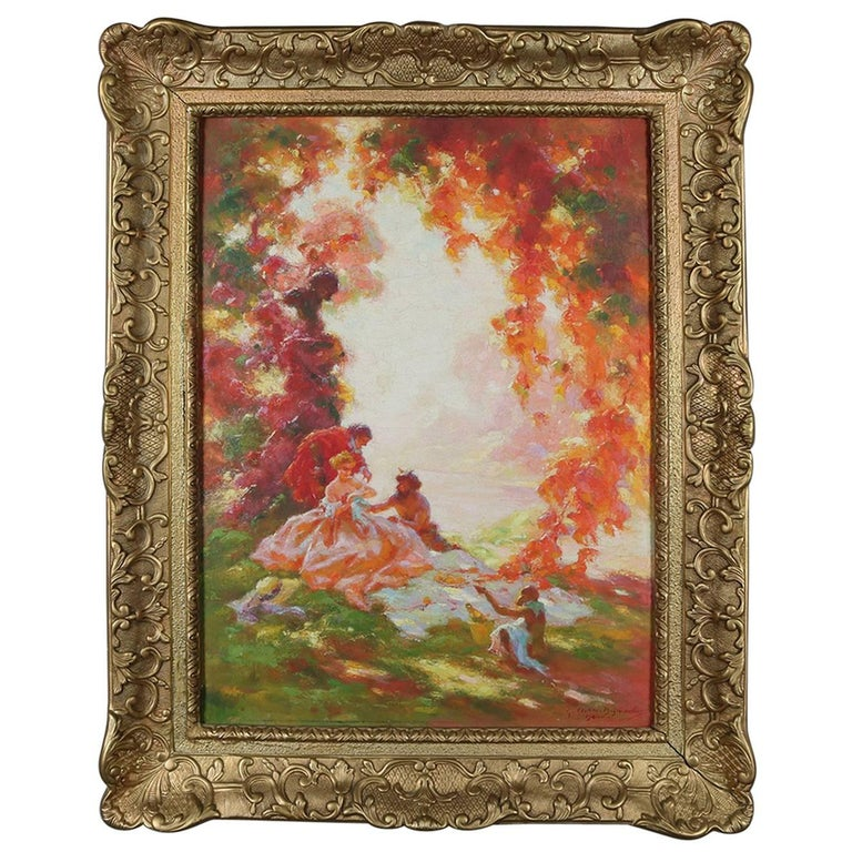 French Impressionist Oil on Canvas Painting Classical Scene Signed 20th Century