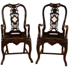 19th Century Pair of Asian Armchairs