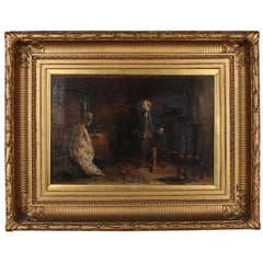 Antique English Oil on Canvas Painting of Couple Colonial Interior Scene