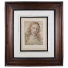 """Contemporary Framed Print """"The Redeemer"""" After Leonardo Da Vinci, 20th Century"""