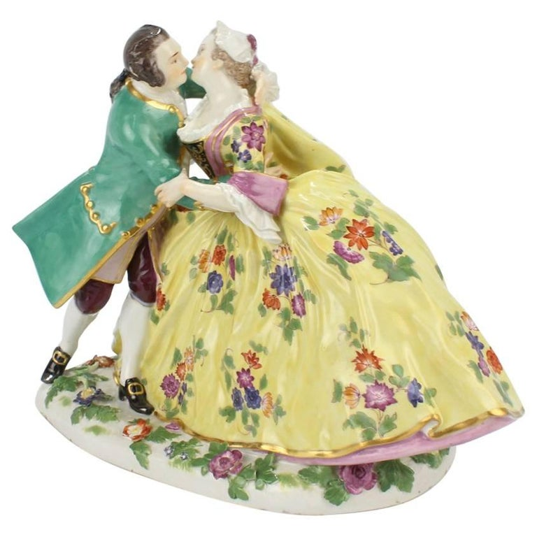 "Antique Meissen Porcelain Figurine of Crinoline Lovers Entitled ""The Kiss"""