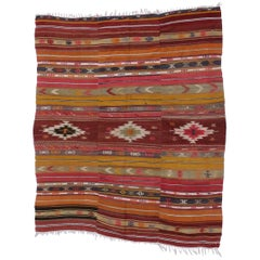 Southwest Boho Chic Vintage Turkish Kilim Rug, Flat-Weave Kilim