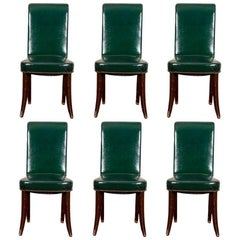 Set of Six Green Leather Dining Chairs
