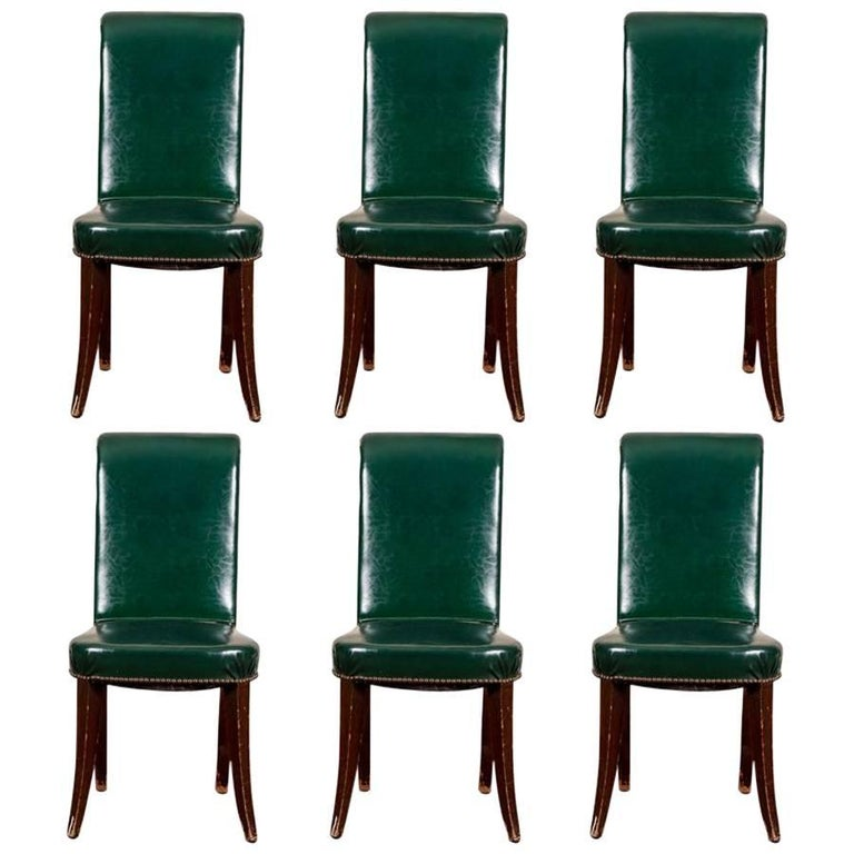 Set Of Six Green Leather Dining Chairs For