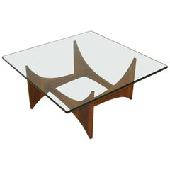 Square Mid-Century Modern Walnut and Glass Coffee Table by Adrian Pearsall