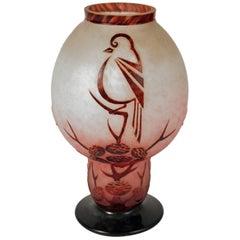 Art Deco Glass Vase by Le Verre Francais, Charles Schneider