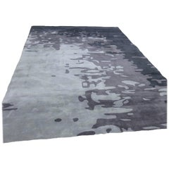 """Vesi"" Color, Night Tide, Hand Tufted Wool Modern Area Rug in NZ Wool"