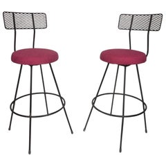 Pair of Mid-Century Modern Swivel Bar Stools