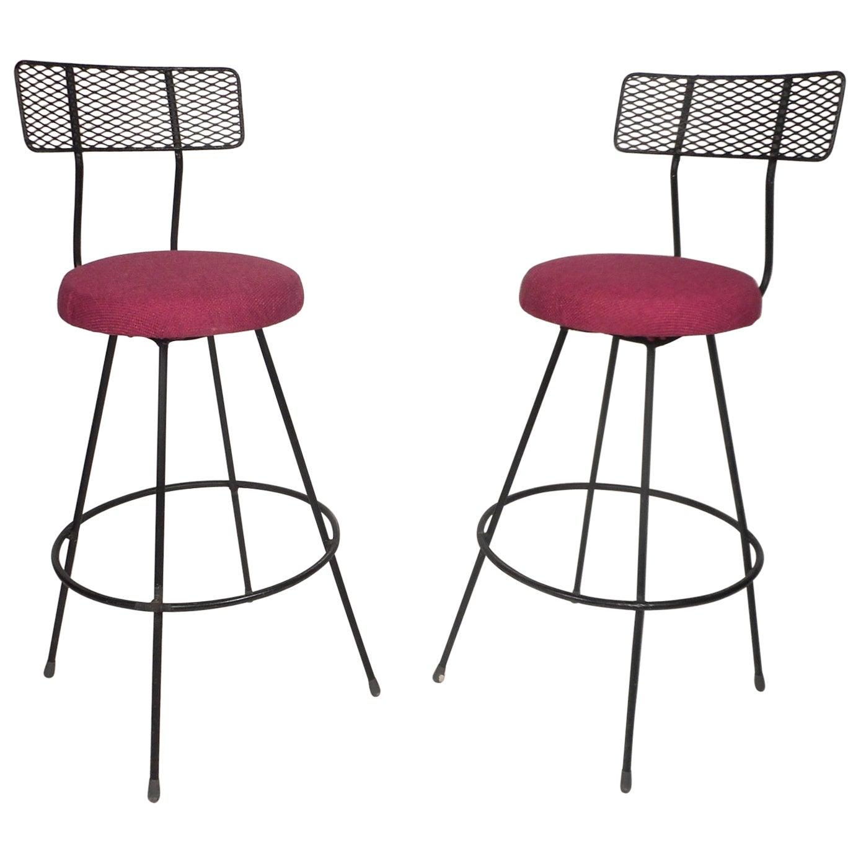 Pair of Mid-Century Modern Swivel Bar Stools