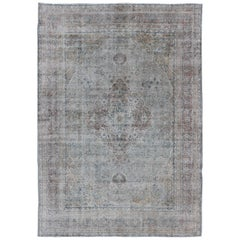 Antique Persian Tabriz Rug with Medallion Design in Grayish Blue, Gold, Brown