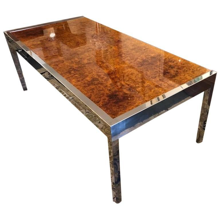 Leon Rosen for Pace Collection Olive Burl Wood Desk