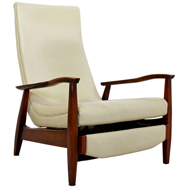Mid-Century Modern Danish Recliner Lounge Chair, Kofod Larsen DUX Attributed