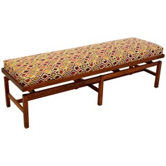 Mid-Century Modern Long Floating Jens Risom Walnut Base Bench