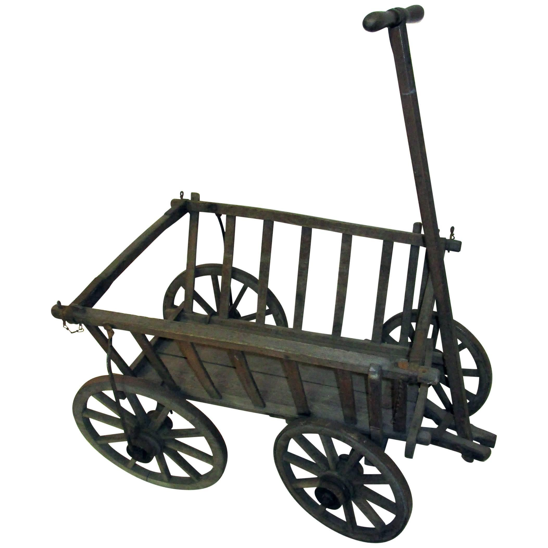 19th Century Wooden Garden Wagon For Sale