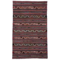Vintage Turkish Kilim Rug with Tribal Style Boho Chic Flat-Weave Kilim Rug