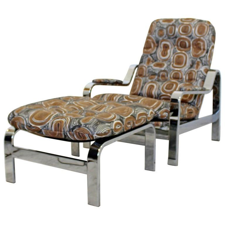 Mid-Century Modern Baughman Chrome Steel Reclining Lounge Chair Ottoman Selig