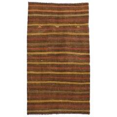 Vintage Turkish Striped Kilim Rug with Bohemian Tribal Style, Flat-Weave Rug