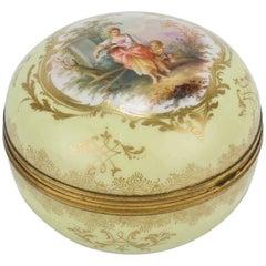 Antique Meissen Porcelain Yellow Ground Vanity or Dresser Box
